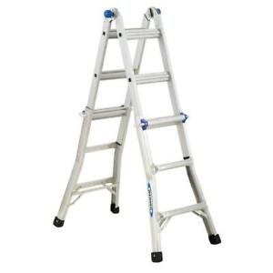 Werner 14 Ft Reach Aluminum Telescoping Multi position Ladder With 300 Lbs Ia
