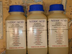Dt Nitric 70 Acid Three 1 Liter 102oz High Purity Hno3 Gold silver Refining
