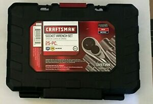 Craftsman 25pc Inch Metric 3 8 In 1 4 In Drive Socket Wrench Set New