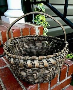 Antique Primitive Gathering Basket Hand Carved Notched Handle Splint Farmhouse