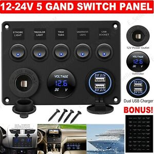 12v 5 Gang On off Toggle Switch Panel 2 Usb For Marine Boat Car Rv Truck Camper