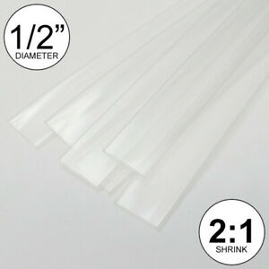 1 2 Id Clear Heat Shrink Tube 2 1 Ratio Polyolefin 25ft 0 5 Inch feet to 13mm