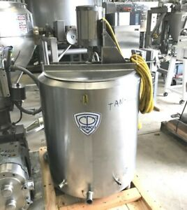 50 Gallon Sanitary Jacketed Portable Stainless Steel Mix Tank Built By Crepaco