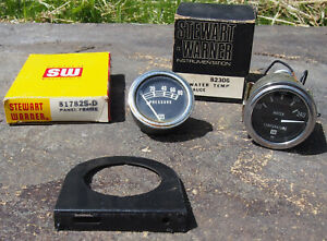 Vintage Stewart Warner Water Temperature Gauge Pressure Gauge Panel Frame