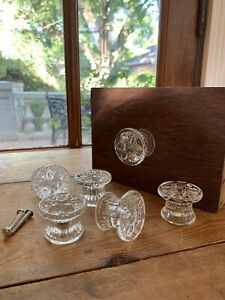 6 Lrg Ornate Clear Glass Cabinet Knobs Drawer Pulls