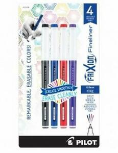 Pilot Frixion Fineliner Erasable Marker Pen Fine Point Assorted Colors 4 Count