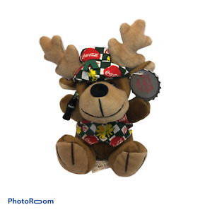 1999 Coca-Cola Reindeer with a Coca-Cola Vest and Beanie Bean Bag Plush