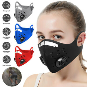 Reusable Face Mask Sport Cover respiratory Valves active Carbon Filter Washable