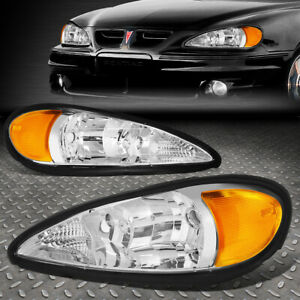For 99 05 Pontiac Grand Am Pair Chrome Housing Amber Corner Headlight Head Lamps
