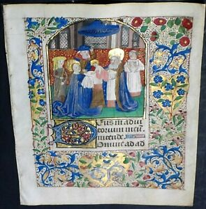 Illuminated Medieval Boh Leaf W Miniature Baby Jesus Presented In Temple Ca 1475