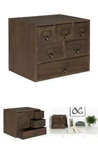 Kate And Laurel Apothecary Wood Desk Drawer Set With Letter Holder Office