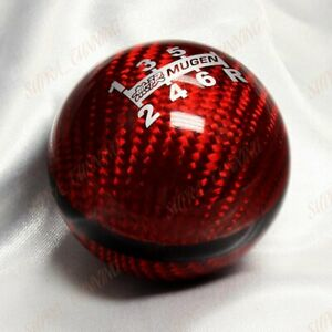 Genuine Carbon Mugen Shift Knob For Honda Crz Type R Accord Fa5 6 Speed Jdm Red