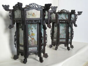 Pair Antique Chinese Lanterns Carved Ebonized Wood Paintings On Glass Rare