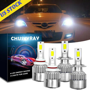 6000k 9005 H7 Led Headlight Bulbs High Low Beam White For Mazda 3 2004 2005 2006