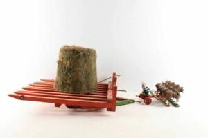 Vintage Folk Art Painted Wood Horse Drawn Hay Stack Mover