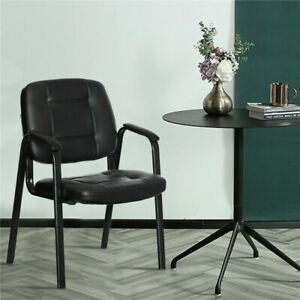 Modern Sturdy Leather Office Reception Chair Guest Chair Seat Padded Furniture