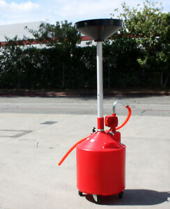 20 Gallon Portable Waste Oil Drain Tank W Rotary Hand Pump Operated Drainage Red