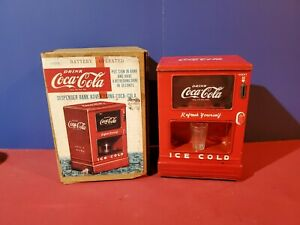 Battery Operated Coca Cola Dispenser Bank Tin Toy tested marx linemar
