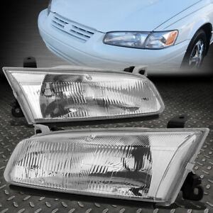 For 97 99 Toyota Camry Chrome Housing Crystal Lens Headlight Assembly Head Lamps