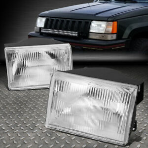 For 93 98 Jeep Grand Cherokee Chrome Crystal Lens Replacement Headlight Lamp Set