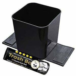 Car Garbage Can Trash Bin Junk Container Auto Vehicle Spill Proof W Bag Black