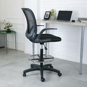 Height Adjustable Mesh Drafting Chair Mid back W Armrest Office Home Bar Chair