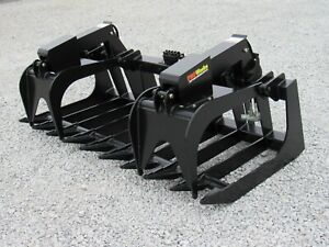 72 Dual Cylinder Root Rake Clam Grapple Attachment John Deere Tractor Loader