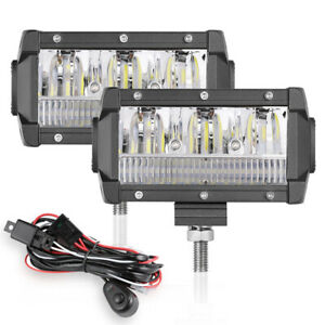 2x 5in 288w Offroad Car Led Work Lights Driving Fog Lamps Spot Flood 4wd wiring