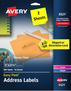 2 Sheets Avery 6521 Glossy Clear Address Labels 1 X 2 5 8 Laser inkjet