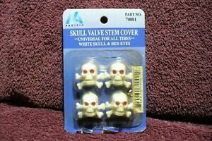 White Skull 50s 60s 70s Style Air Valve Stem Caps Auto Truck Rod Part Accessory