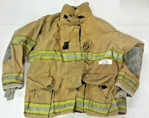 56x35 Globe Firefighter Brown Turnout Jacket Coat With Yellow Tape Gxtreme J820