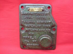 Vtg John Deere 1 1 2 Hp Type E Hit Miss Engine Governor Cover Brass Tag Serial