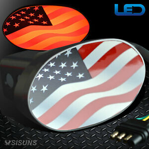 Usa American Flag Lighted Trailer Hitch Receiver Plug Cover Fits 1 25 2 Both