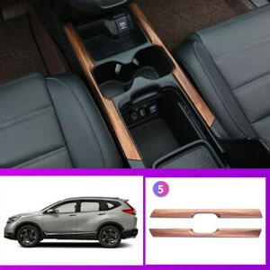 For Honda Crv Cr v 2017 2020 Wood Grain Central Console Water Cup Trim Strip 1pc