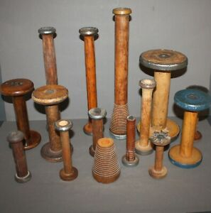Lot Of 15 Antique Vintage Industrial Textile Mill Wood Sewing Spools
