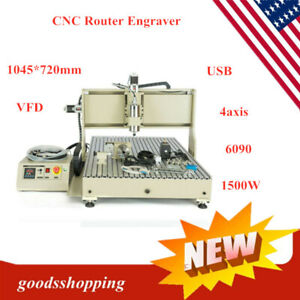 Usb Four 4axis 6090 1500w Cnc Router Engraver Engraving Milling Drilling Machine