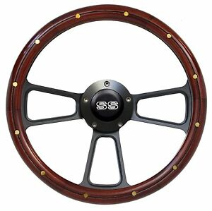 1967 68 Chevelle Steering Wheel Mahogany W black Ss Horn Button Full Boss Kit