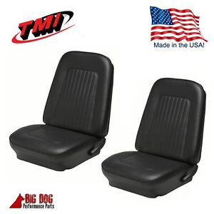 1967 1968 Camaro Convertible Front Rear Black Seat Upholstery
