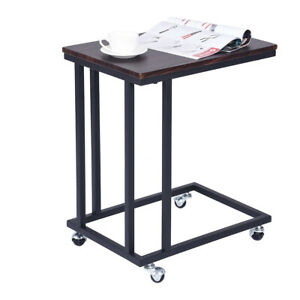 Small Table Snack Side Table Computer Desk Wood With Metal Frame W wheels Home