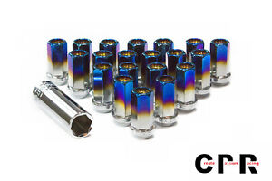 Cpr Close Ended Steel 17hex Wheelracing Lug Nuts Titanium Burnt Blue 12x1 5 Key