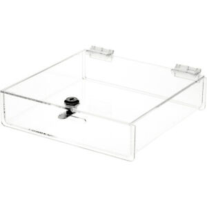 Plymor Clear Acrylic Locking Countertop Display Case 2 H X 9 W X 9 D