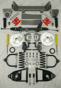 1953 56 Ford F100 Mustang Ii Power Front End Suspension Kit 2 Drop Red Wilwood