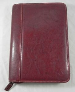 Franklin Covey Red Synthetic Leather W White Stitching Binder Classic Size