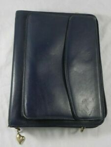 Franklin Quest pre Covey Navy Blue Full Grain Aniline Leather Classic Binder