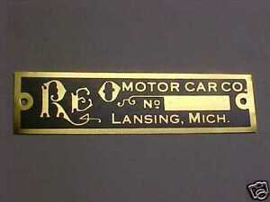 Reo Vehicles Early Logo Data Plate 1904 1913 Etched Aluminum Or Brass Choice