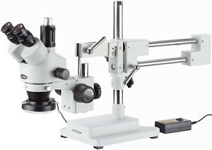 Amscope 3 5x 90x Trinocular Stereo Microscope With 4 zone 144 led Ring Light