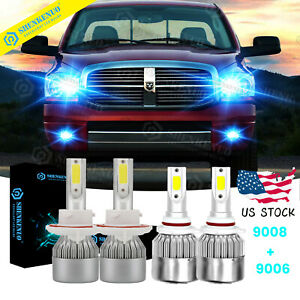For 2006 2007 2008 Dodge Ram 1500 2500 3500 Led Headlight Fog Light Bulbs Kit Gn
