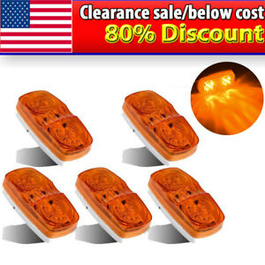 5pcs 4 Amber Side Marker Clearance Light 10 Led Surface Mount Tailer Boat Rv