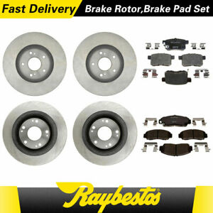 For 2008 2009 Honda Accord Front Rear Kit Brake Rotors Ceramic Pads Raybestos