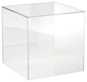 Plymor Clear Acrylic Display Case With No Base mirror Back 10 X 10 X 10